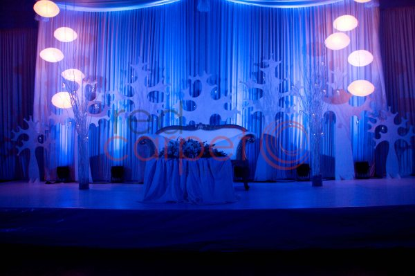 blue & white wedding reception stage