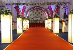 purple lavender theme wedding stage at karingachira