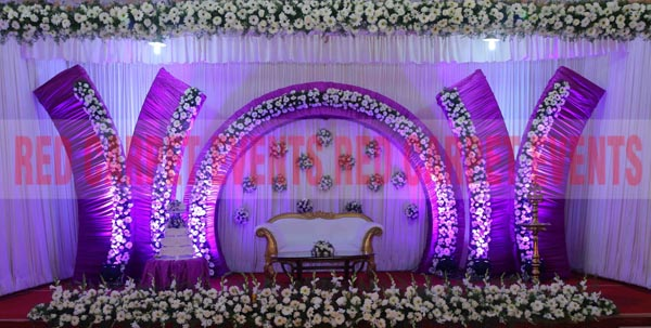 Purple Theme Wedding Reception Stage
