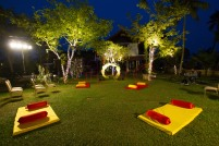 Colourful bed seating for the guests of Mehndi event